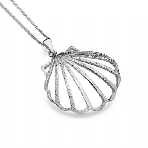 Large Scallop Shell Pendant Sterling Silver 925 Hallmarked All Chain Lengths